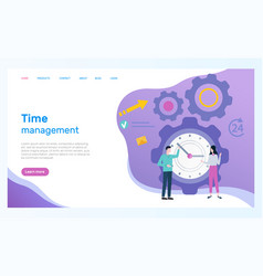 Time management web page office workers and clock vector