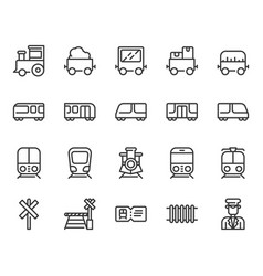 Train stations related icon set vector