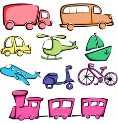 Transportation vehicles icons vector