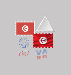 Tunisia flag postage stamp set isolated on gray vector