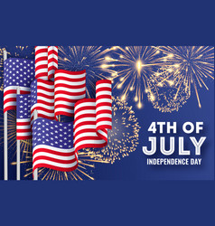 Usa independence day big banner with waving vector