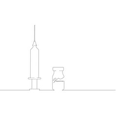vaccine and syringe injection covid-19 line art vector image