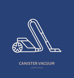Vacuum cleaner flat line icon logo vector