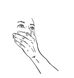 Young woman covered her mouth with hand and vector
