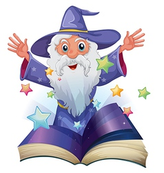 A book with an image of an old man with many stars vector image