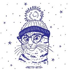 cat in hat vector image vector image