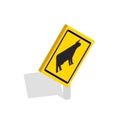 Cattle traffic warning icon isometric 3d style vector