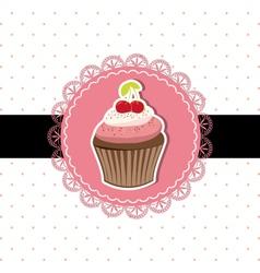 Cherry cupcake invitation card vector