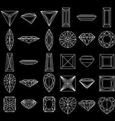 diamond gemstone wire frames vector image vector image