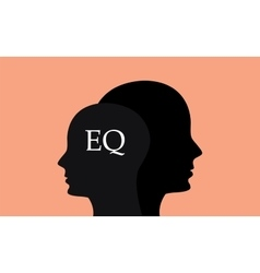 eq emotional question with sillhouette human brain vector image