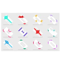 greeting card paper gift bows ribbons set flat vector image