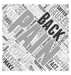 Back Pain Interventions Word Cloud Concept vector image