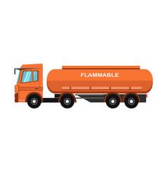 orange fuel truck vector image vector image