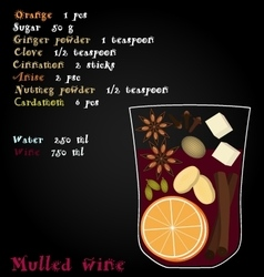 Recipe mulled wine christmas spices orange vector