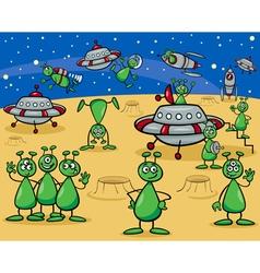 aliens characters cartoon vector image vector image