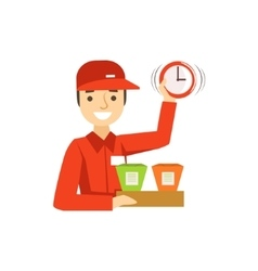 Delivery Service Worker In Red Uniform Holding vector image vector image