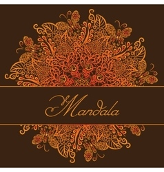 mandala Brown background Red ornament vector image vector image