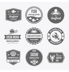 Seafood label set black vector image vector image