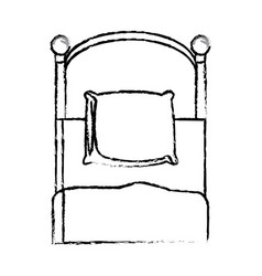 single bed pillow bedding sketch vector image