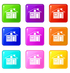wooden log house icons 9 set vector image