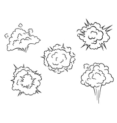 Cartoon clouds and explosions vector image vector image