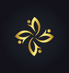 Circle gold flower beauty logo vector