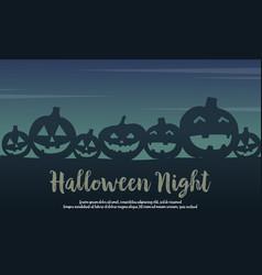 halloween with pumpkin silhouette design vector image vector image