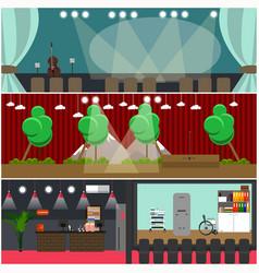 set of opera house cinema interior flat vector image vector image