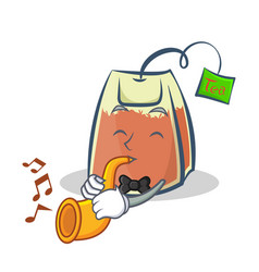 Tea bag character cartoon with trumpet vector