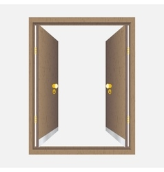 Wood open door with frame vector image