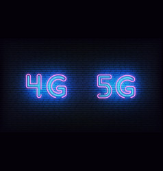 5g 4g network neon glowing sign wireless vector