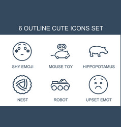 6 cute icons vector