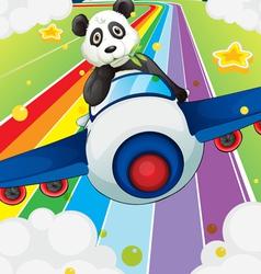 A panda riding in a plane vector