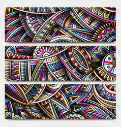 Abstract ethnic ornamental stripes set 3 vector