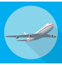 Airplane flying with shadow vector image