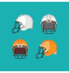 American Football White and Orange Helmet Isolated vector