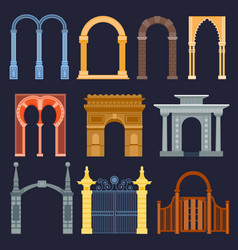 arch gate house exterior design vector image