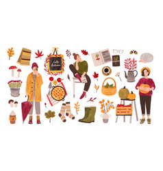 autumn set - people holding gathered seasonal vector image