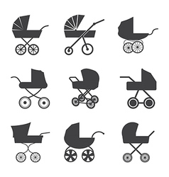 Baby stroller icons vector image