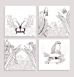 beautiful drawings on birds and buttelrflies vector image