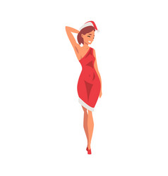 beautiful girl wearing santa claus dress and hat vector image