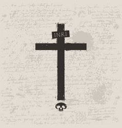 Black cross with skull in grunge style vector