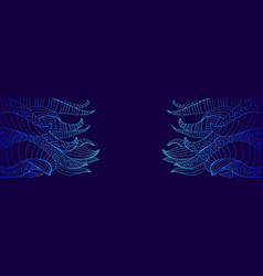 blue and dark decorative doodles waves frame vector image