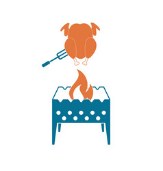 Brazier and chicken icon vector