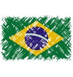 Brazilian grunge flag vector image