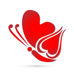 Butterfly red heart logo symbol vector