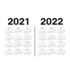 Calendar 2021 and 2022 template template vector