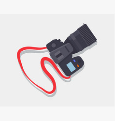 camera icon with red strap vector image