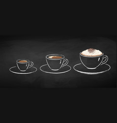 chalked collection coffee cups vector image