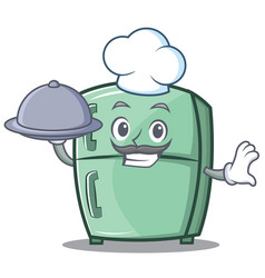 Chef with food cute refrigerator character cartoon vector